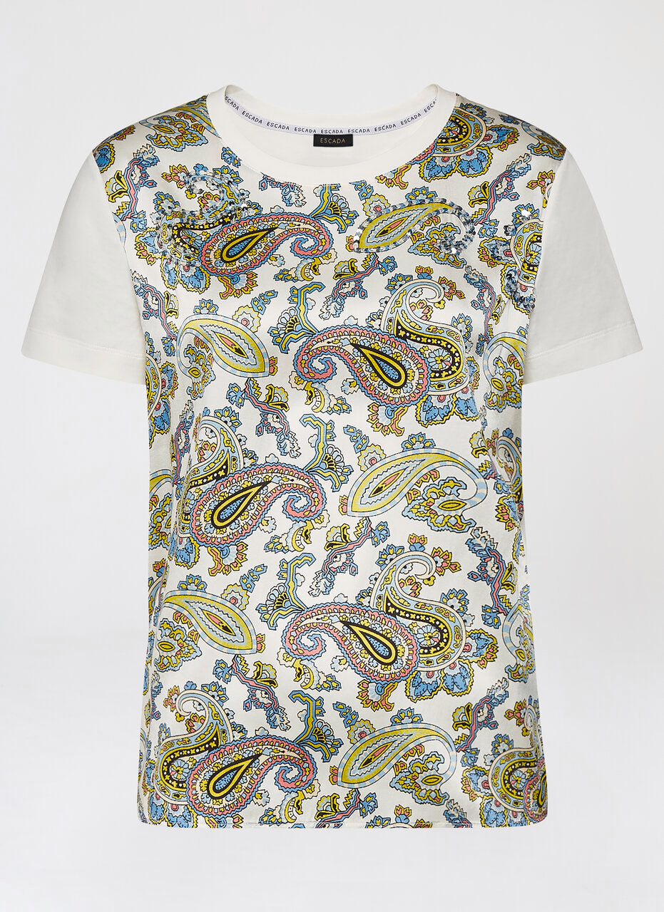 Cotton and Silk Paisley T-shirt - ESCADA