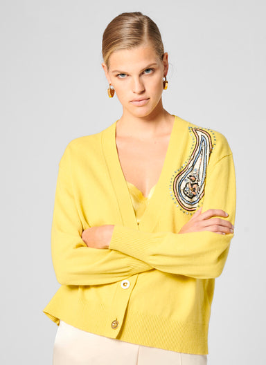Cashmere Cotton Embroidered Cardigan - ESCADA