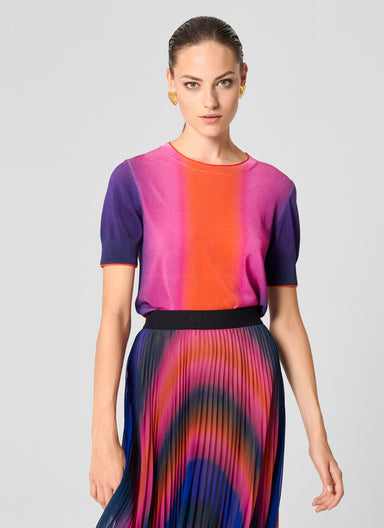 Multicolor Ombré Short-Sleeve Sweater - ESCADA