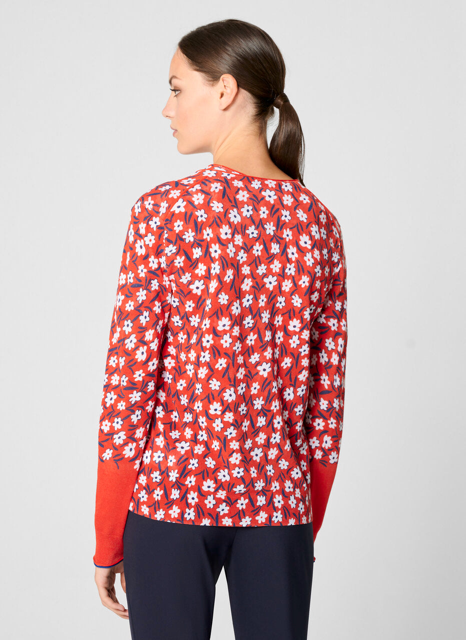 Cotton Blend Floral Cardigan
