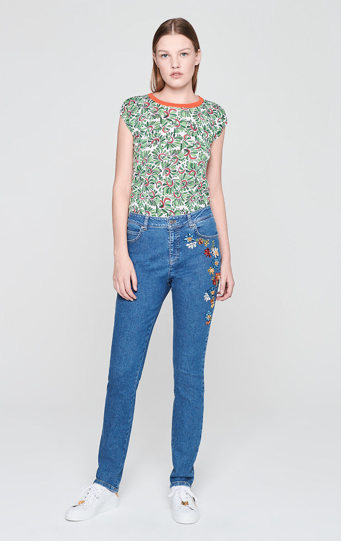 Crystal-Embroidered Jeans