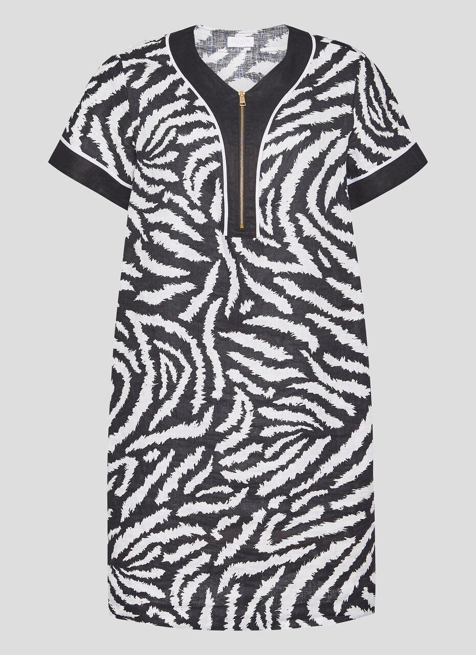 Linen Zebra Print Dress - ESCADA