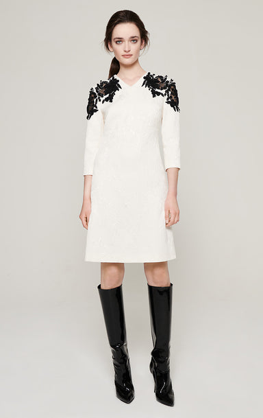 ESCADA Embroidered Jacquard Dress