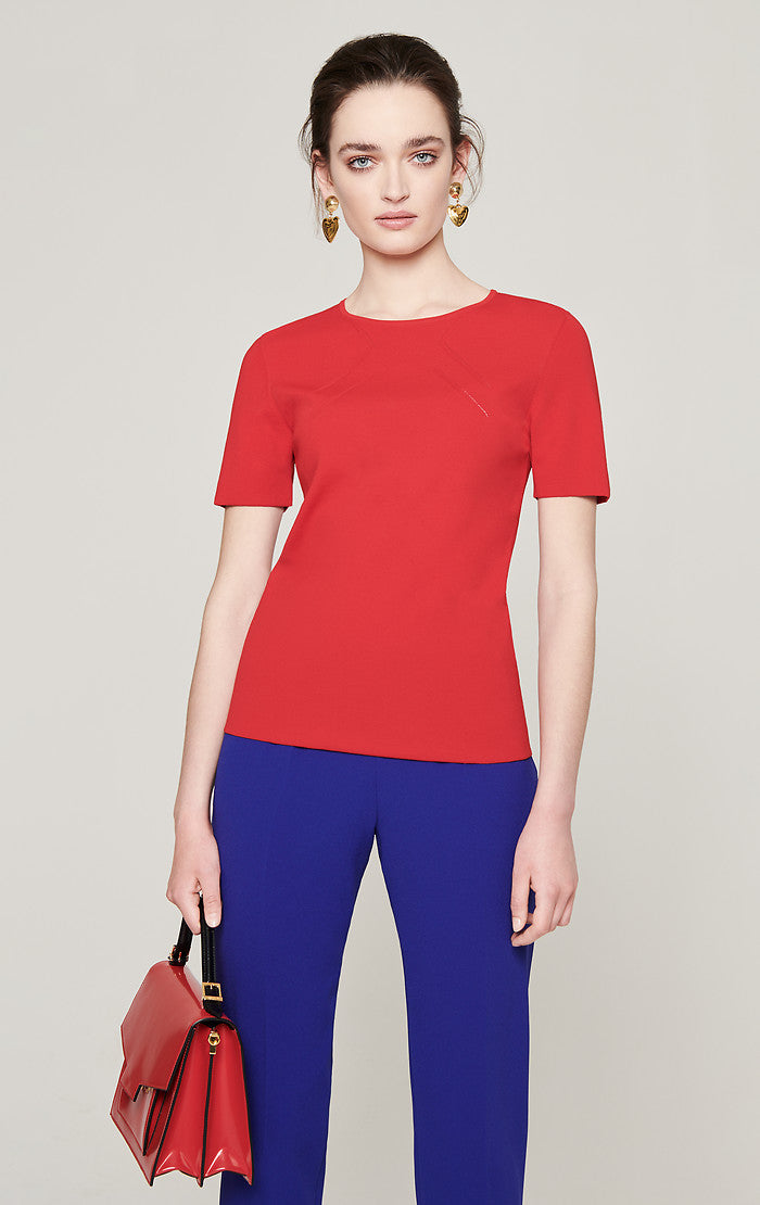Stretch Knit Short-Sleeve Sweater - ESCADA