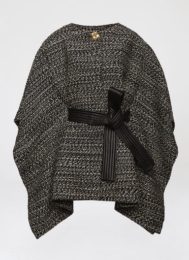 Wool tweed cape with leather belt - ESCADA