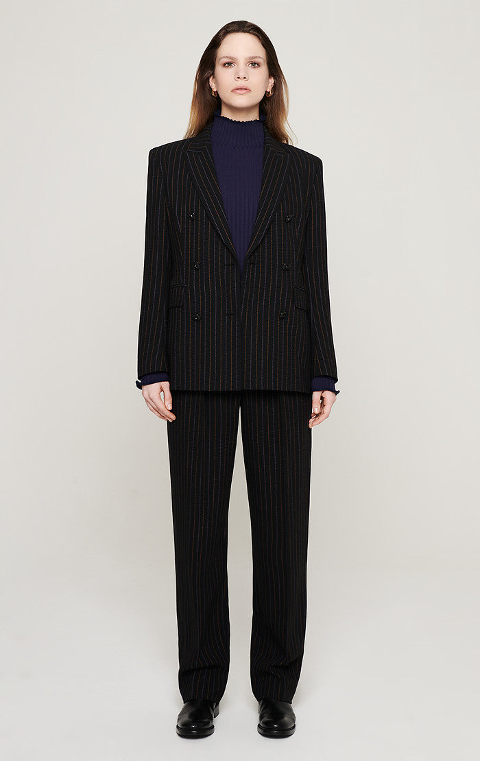 Wool Blend Pinstripe Pants - ESCADA