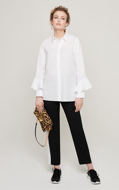 ESCADA Cotton Poplin Ruffle Sleeve Shirt