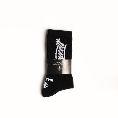 "A.H.B. BLACK ""BOYCOTT TAG"" SOCKS"