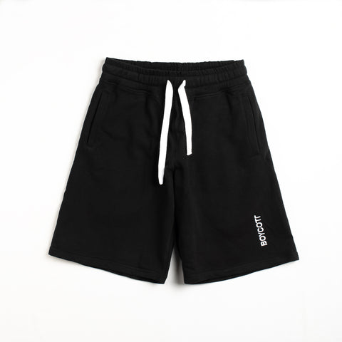 "A.H.B. BLACK EMBROIDED SHORTS ""BOYCOTT"" COD:070-170-003"