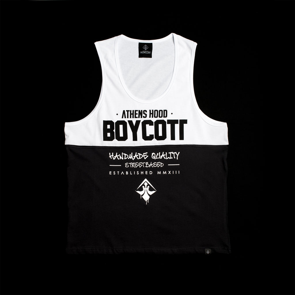 "A.H.B. WHT/BLK ""STREETBASED"" TANKTOP COD:004-127-014"