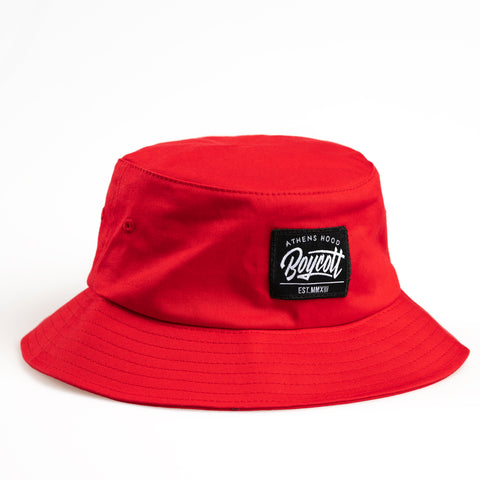"A.H.B. RED ""BOYCOTT"" BUCKET HAT"