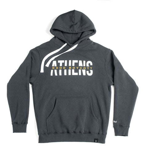 "A.H.B. DARK GREY ""ATHENS HOOD BOYCOTT"" HALF EMBROIEDED HOODIE COD:001-191-008"