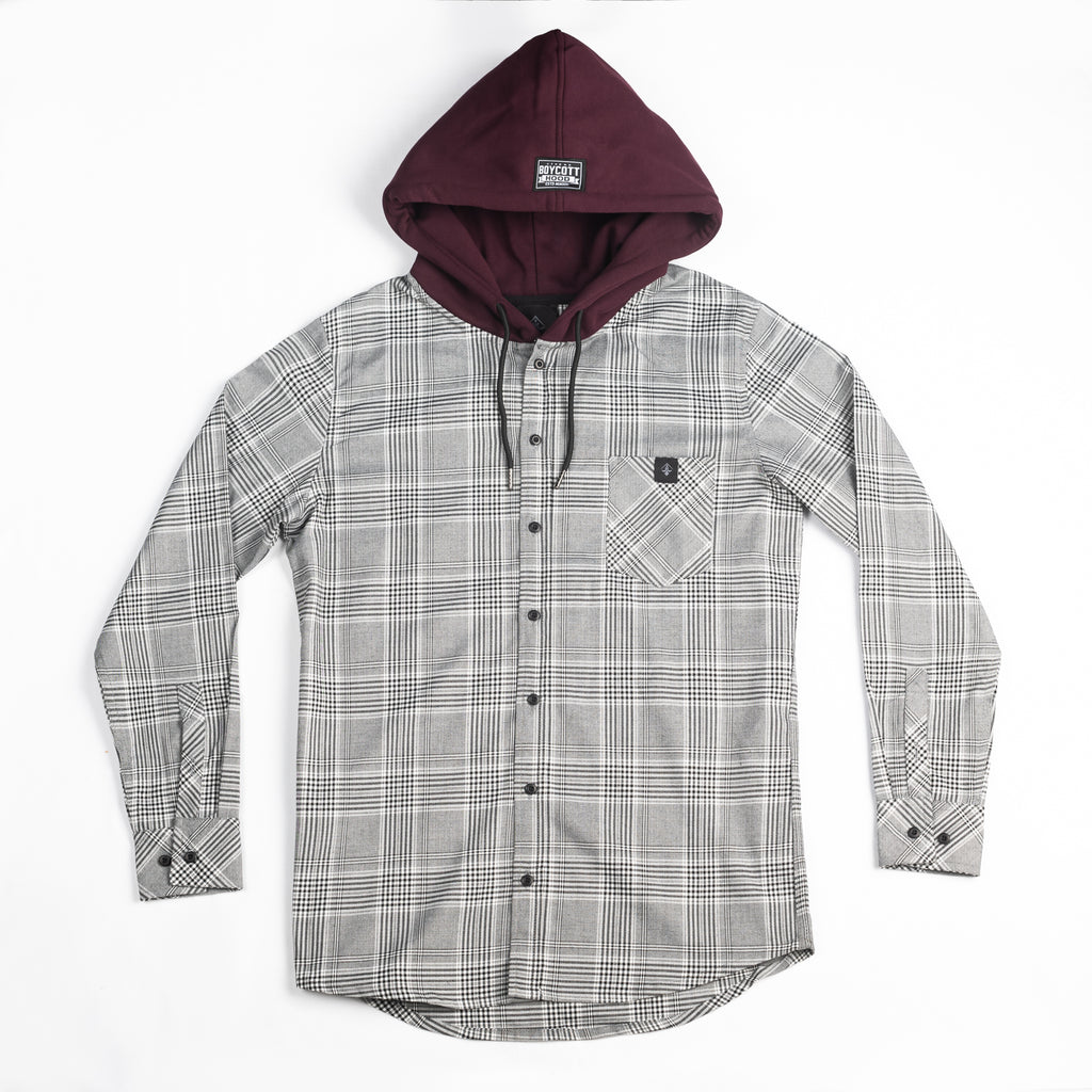 "A.H.B. GREY/MAROON ""LOGO"" HOODED SHIRT COD:041-076-029"