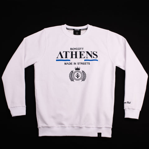 "A.H.B. WHITE EMBROIDERY ""ΛTHENS"" CREWNECK COD:002-229-001"