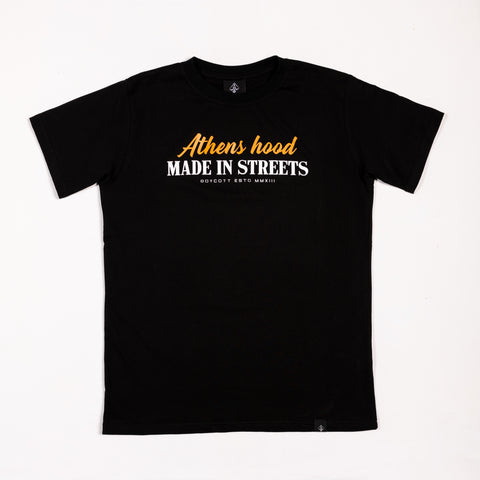 "A.H.B BLACK  T-SHIRT  ""MADE IN STREETS"" COD:003-200-003"