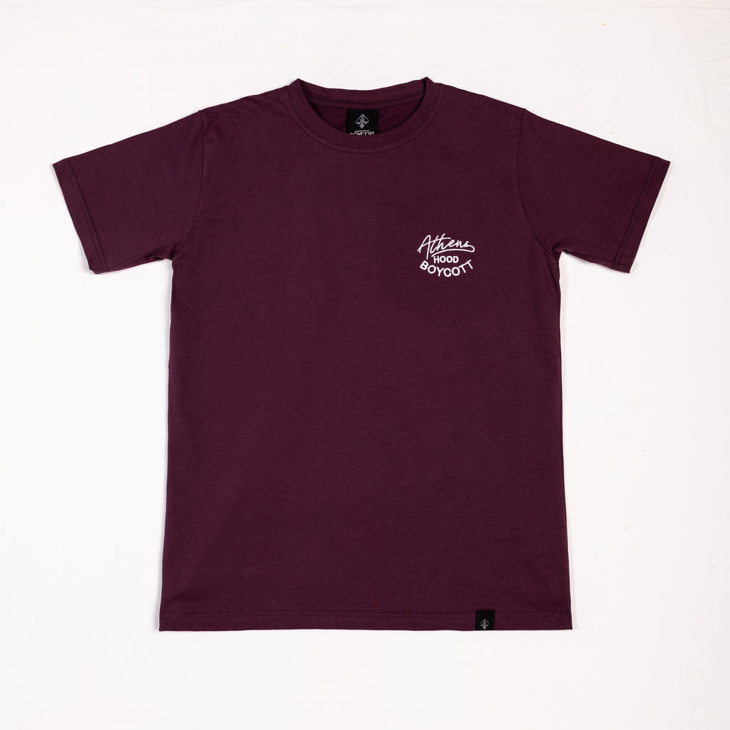 "A.H.B. BURGUNDY EMBROIDERED T-SHIRT ""ATHENS HOOD"" COD : 003-205-024"