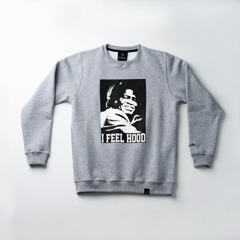 "A.H.B. GREY ""I FEEL HOOD"" CREWNECK COD:002-104-002"