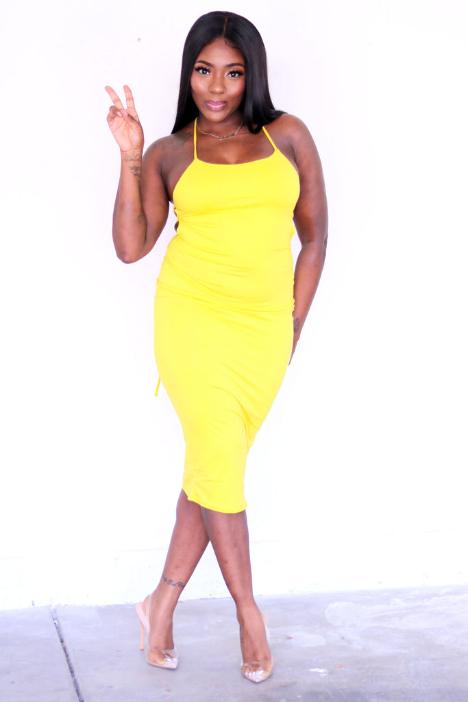 """Back Me Up"" Yellow Midi Dress"