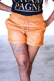 Paper Bag Leather Shorts in Brown