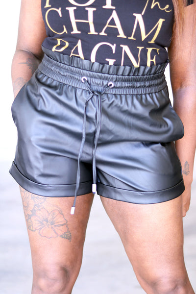 Paper Bag Leather Shorts in Black