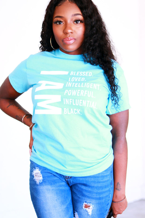"""I Am Black"" T-Shirt in Blue & White"