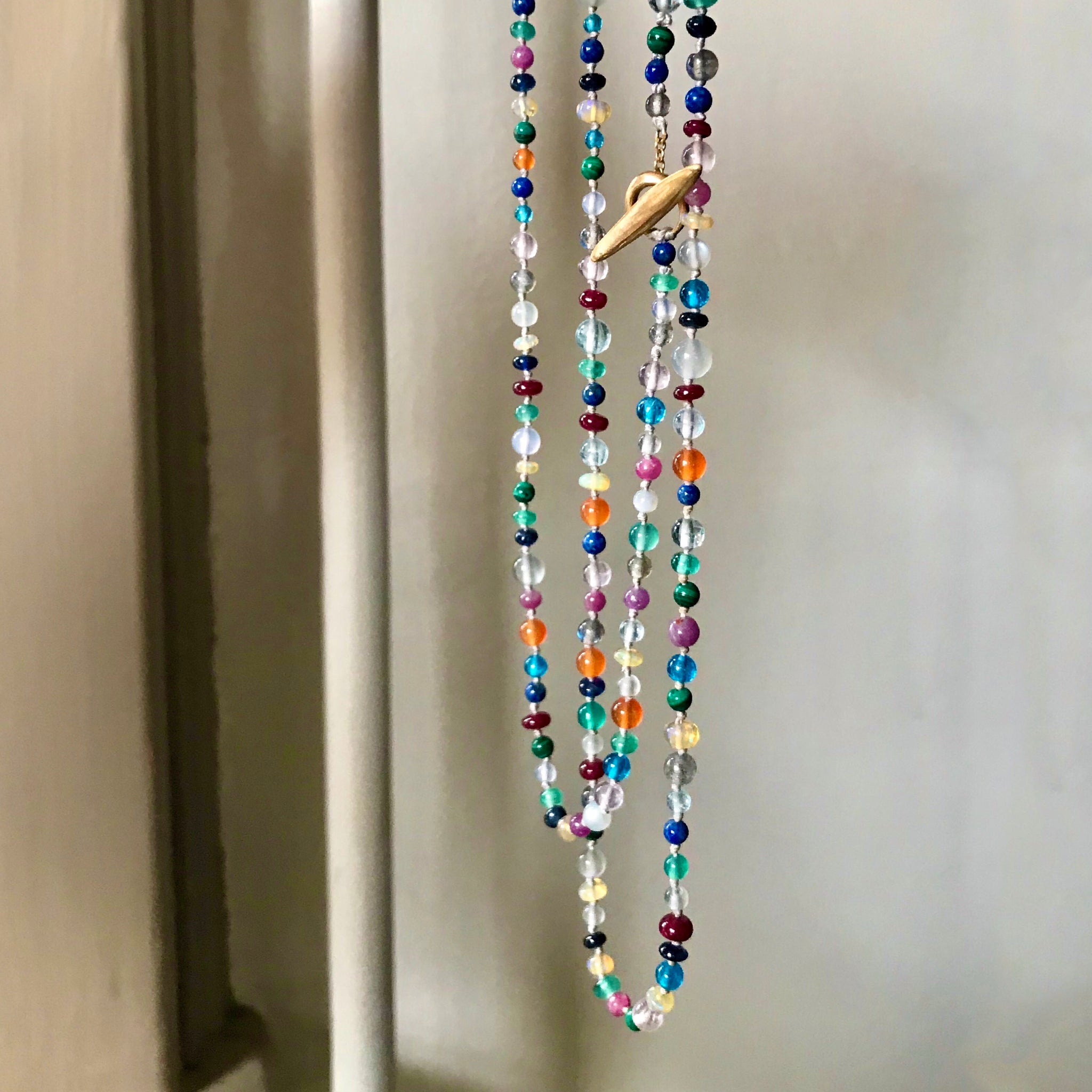 gemstone confetti strand with boomerang toggle clasp