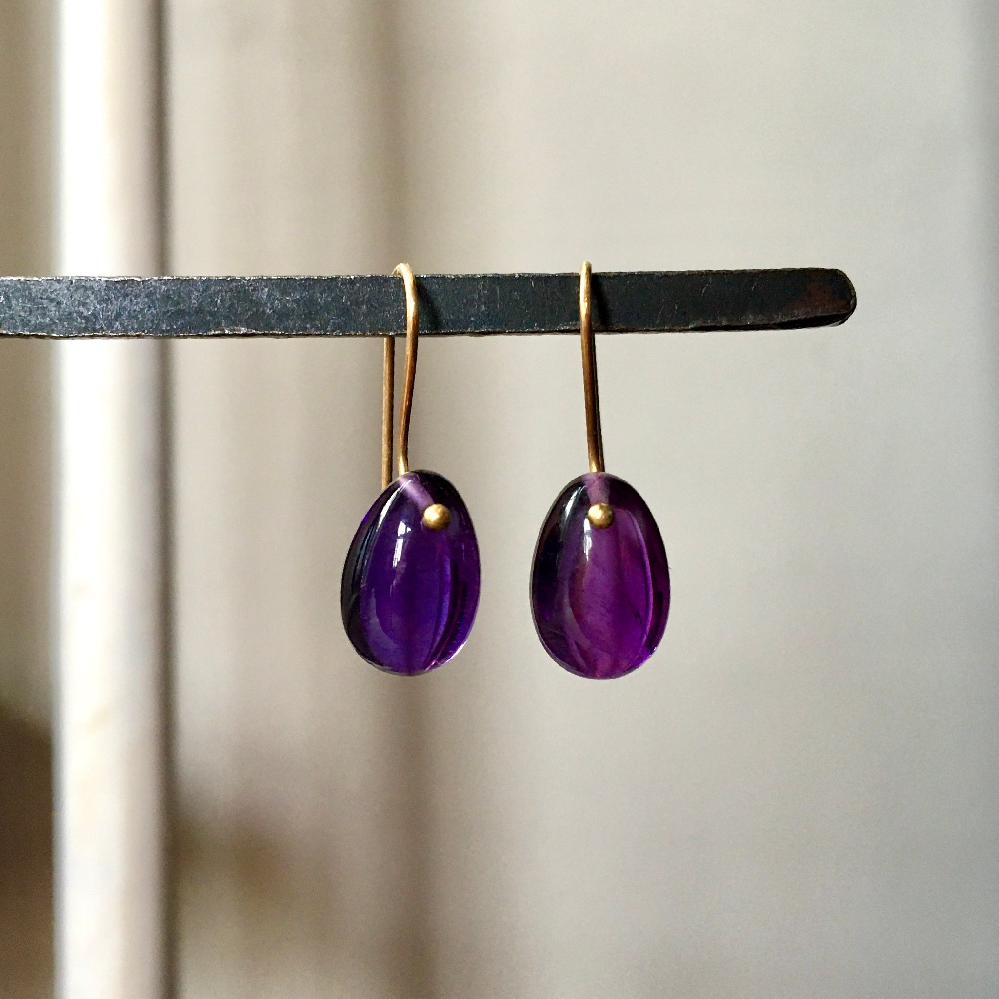amethyst egg earrings