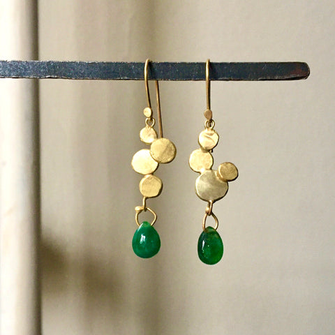 gold bubbles with emerald drop earrings