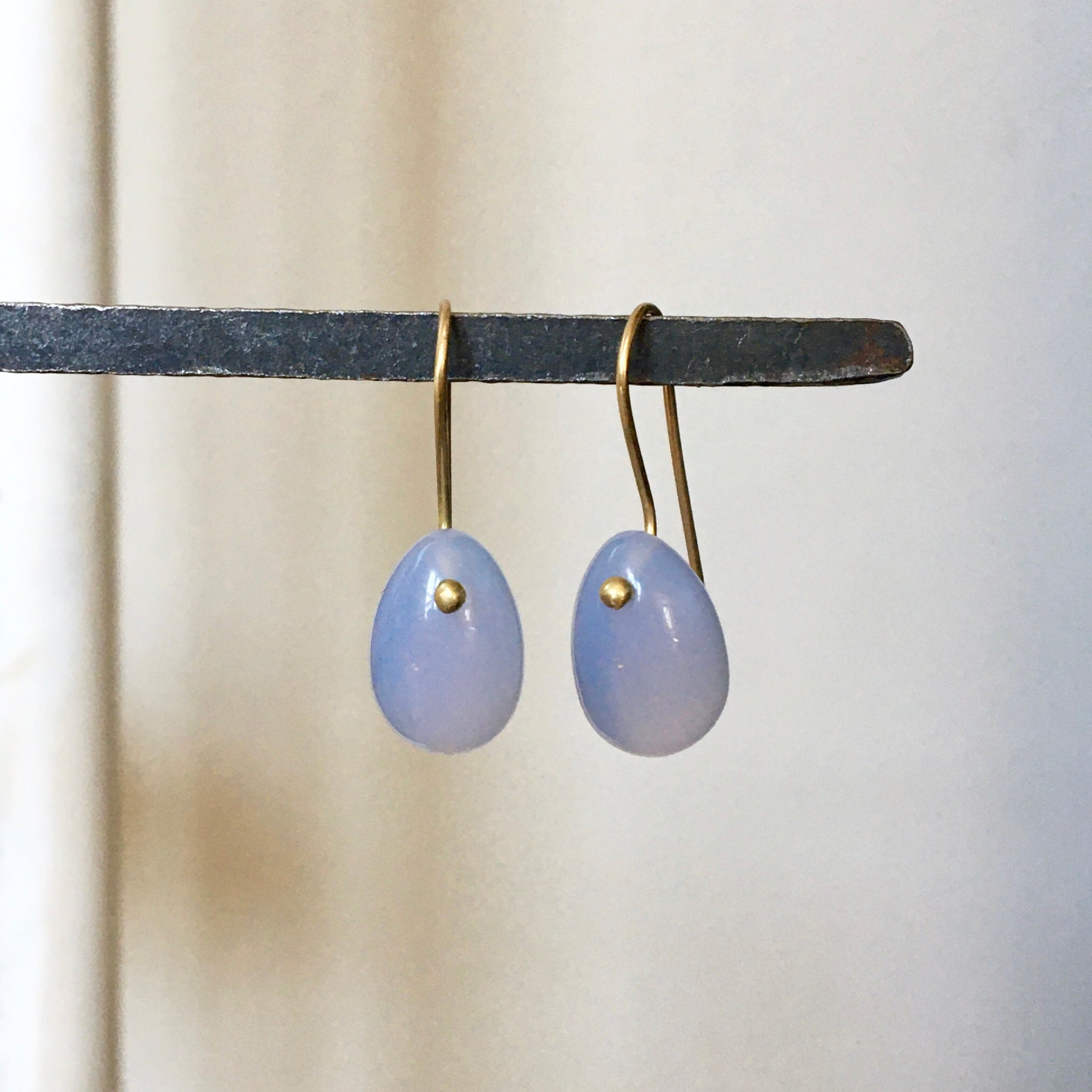 chalcedony egg earrings