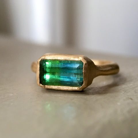 bicolor green and blue tourmaline ring