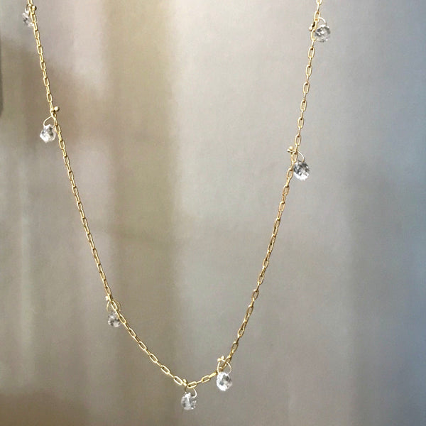 floating diamond briolette necklace