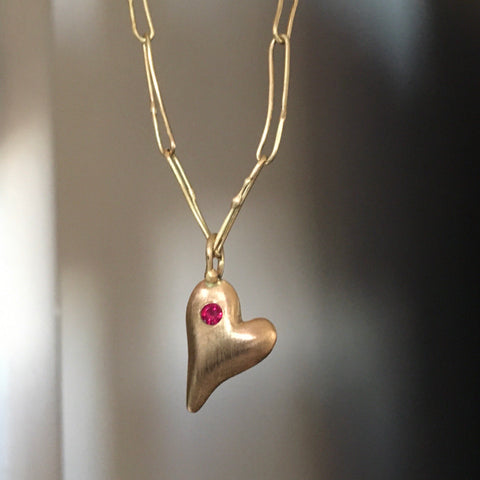 pillow heart pendant necklace with ruby