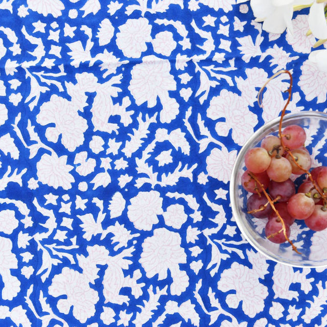 Tablecloth in Soft Navy & Cotton Candy Nila Print
