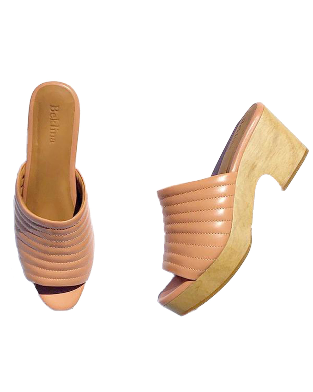 Open Toe Ribbed Clog, Peach