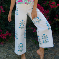 Disco Pant in Blue & Sand Lily