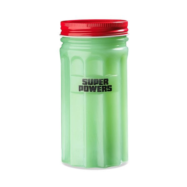"Green Opaline Jar, ""Super Powers"""