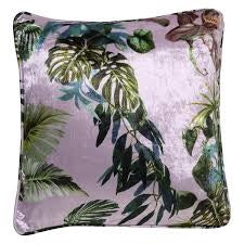 Lilac Foliage Velvet Cushion Cover