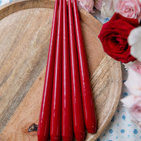 Hand-Dipped Lacquer Taper Candles, Pair