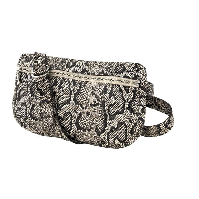 Exotic Fanny Pack, Faux Snakeskin Oatmeal