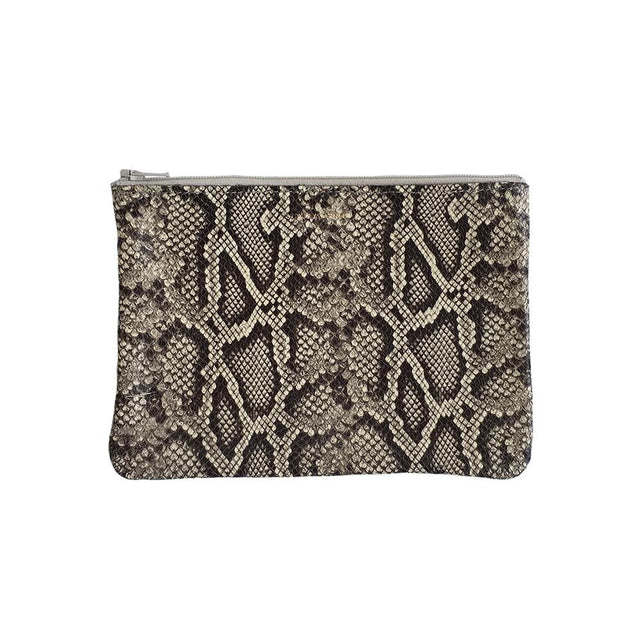 Exotic Zip Medium, Faux Snakeskin Oatmeal