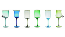 Goblets, Green & Blue with Gold Rim