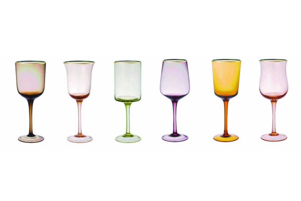 Goblets, Purple & Pink with Gold Rim