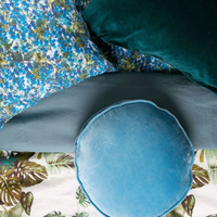 Aqua-Blue Velvet Pea Cushion