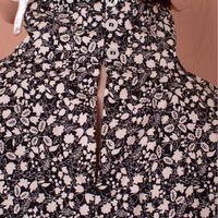Carnation Top, Black White Floral