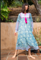 Jodhpur Dress in Gaze Blue & Moss Nila Print