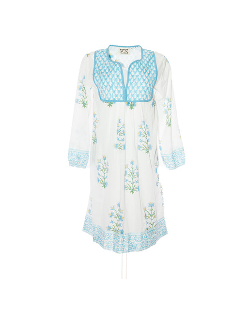 Jaipur Dress in Cornflower Blue & Sand Lily Print