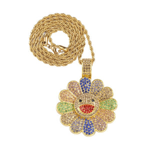 Iced Out Rotatable Sun flower Pendant & Chain