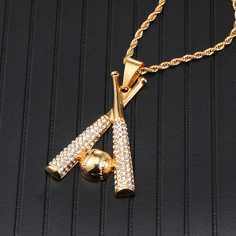 Iced Out Baseball Pendant & Chain