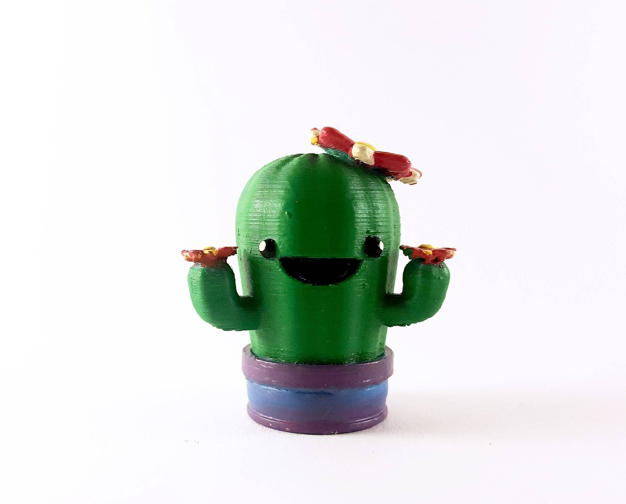 Super happy cactus desk buddy - Cute 3d printed figurine - Hand painted figure