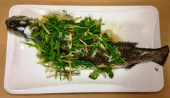 Steamed Seabass with Ginger and Cilantro Topping
